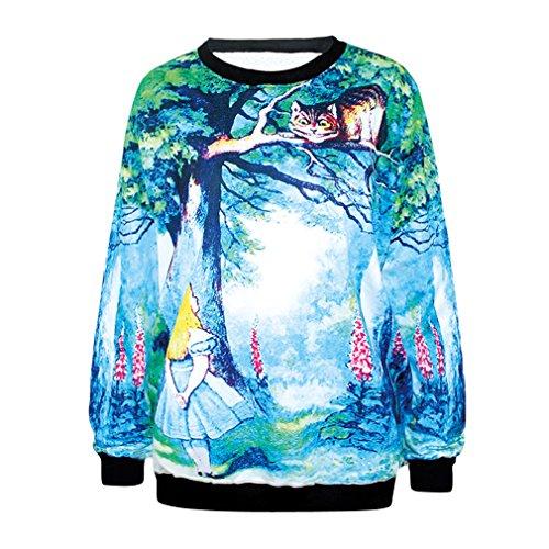 Ninimour Damen-Pullover mit Kapuze und 3D-Digitaldruck, Motiv Cartoon, Trendige Straßenkleidung für Damen Gr. One size, MD810-alice in Wonderland
