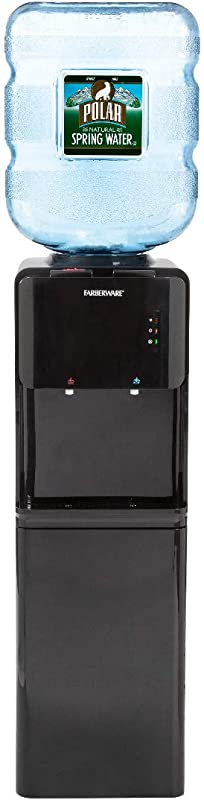 Farberware FW WD419 Freestanding Hot And Cold Water Cooler Dispenser With Built In Refrigerator Black