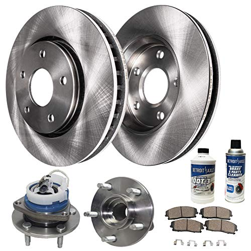 Detroit Axle - Both Front Wheel Bearing Hub Assemblies and Disc Brake Kit Rotors w/Ceramic Pads w/Hardware & Brake Kit Cleaner for 2006-11 Buick Lucerne V6 - [06-13 Chevy Impala] - [06-07 Monte Carlo]