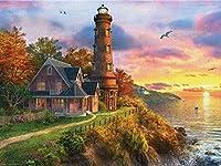 NC88 フルスクエアダイヤモンド絵画灯台のダストダイヤモンドモザイク風景ラインストーンの写真家の装飾12x16インチ(フレームレス)