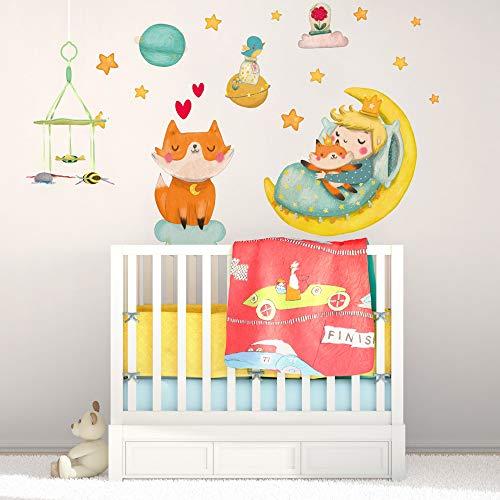 R00572 Adesivi Murali Stelle Nuvole volpe piccolo principe rosa Decorazione Muro Cameretta Bambino, Asilo Nido, Camera Letto, Carta da Parati Adesiva Effetto Tessuto
