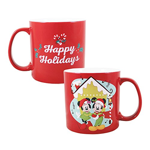 Vandor 56235 Disney Mickey Mouse and Minnie Mouse Holiday 20 oz. Ceramic Mug