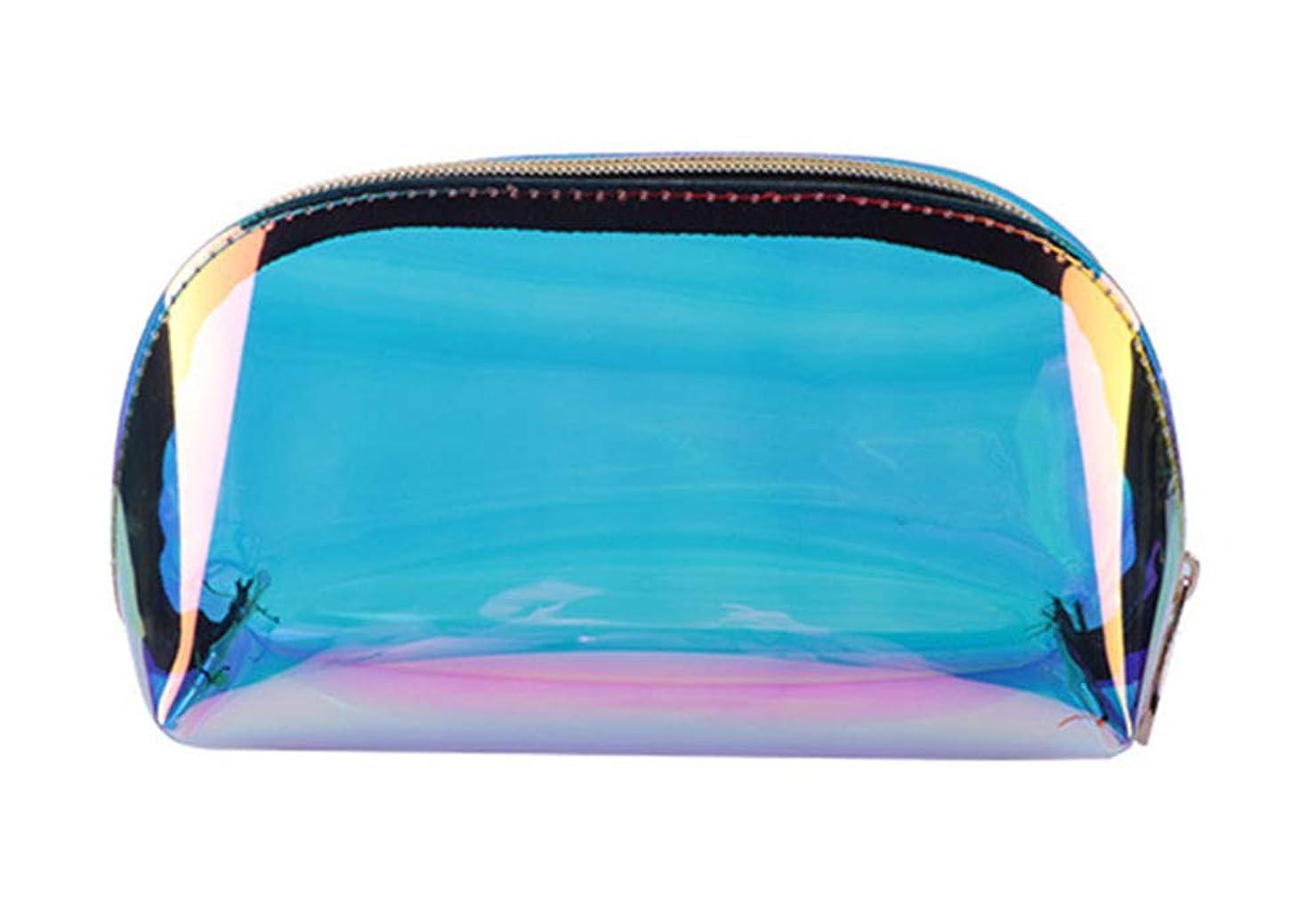 ホーム朵 メイクポーチ 化粧バッグ オーロラカラー レーザー 透明バッグ 防水 収納携帯用 おしゃれ コスメポーチ たっぷり収納 旅行 便利 超軽量 (小さい)