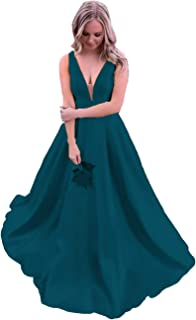 ANGELWARDROBE Women's Satin Formal Evening Dress Long V Neck Princess Skirt Prom Party Ball Gown