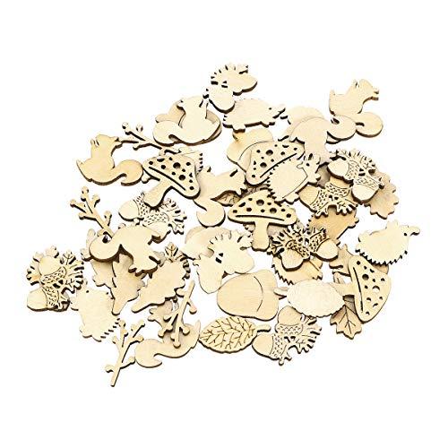 TOYANDONA 50pcs Holz Wald Tiere Formen Pflanzen Scheiben Holzstücke Holzscheiben Holz Verzierung Holz Streudeko für Basteln DIY Handwerk Bemalen Färben