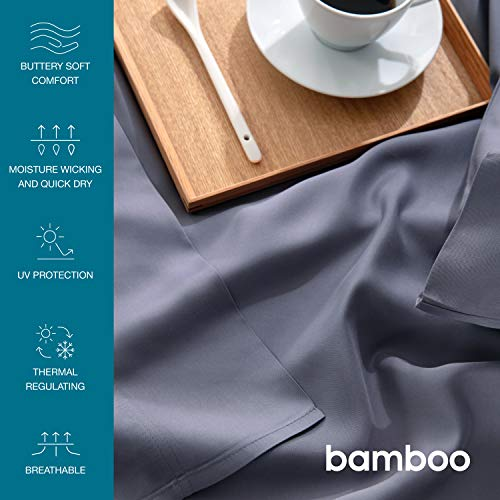 Bedsure 100% Bamboo Sheets King Size Cooling Sheets Deep Pocket Bed Sheets-Super Soft Hypoallergenic,Breathable - 4 Pieces 1 Fitted Sheet with 16 Inches, 1 Flat Sheet, 2 Pillowcases-Grey