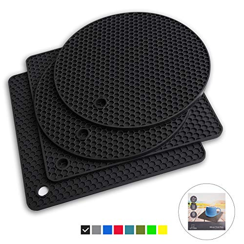 Q's INN Black Silicone Trivet Mats | Hot Pot Holders | Drying Mat. Our potholders Kitchen Tool is Heat Resistant to 440°F, Non-slip,durable, flexible easy to wash and dry and Contains 4 pcs.