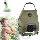 KIPIDA Solardusche Outdoor, 20L Campingdusche Solar Wassersack Heizung Camping Dusche Tasche mit Duschkopf Gartendusche Pooldusche Warmwasser Shower,Outdoor Camping (Grün)