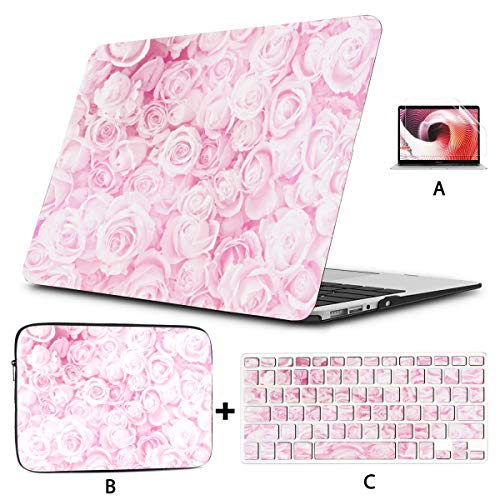 Macbook Air 1466 Case Blurred Sweet Roses Pastel Color Style Mac Book Cases Hard Shell Mac Air 11'/13' Pro 13'/15'/16' With Notebook Sleeve Bag For Macbook 2008-2020 Version