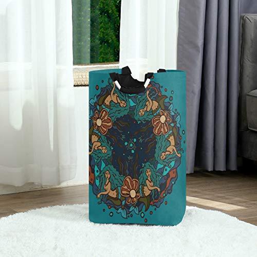 ASNIVI Large Laundry Bag Decorative Circle On Marine Theme Mermaids Foldable Durable Lightweight Oxford Storage Basket Hamper with Handles for Home Bathroom Bedroom
