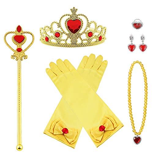 Vicloon 7pcs Princesse Dress Up Accessoires Filles Diadème Baguette Magique Collier Gants Boucles doreilles pour Cosplay Carnaval Fête danniversaire