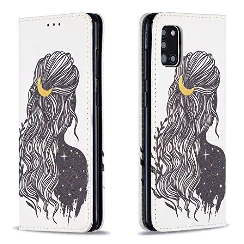 Miagon Brieftasche Hülle für Samsung Galaxy A31,Kreativ Gemalt Handytasche Case PU Leder Geldbörse mit Kartenfach Wallet Cover Klapphülle,Mädchen