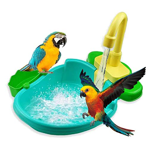 TOPBOOM Bird Automatic Bathtub Swimming Pool Toy Bath Shower/Water Dispenser for Parrot Budgie Parakeet Cockatiel Conure Lovebird Finch Canary African Grey Cockatoo Amazon Macaw Cage Healthy