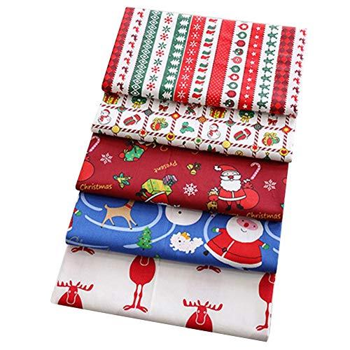 5 Stück Baumwollstoff Patchwork 50 x 50cm Baumwollstoff Meterware Stoffe Weihnachten Stoffpaket Stoffe zum Nähen für DIY Nähen Face Cover Craft (5 Stück 50x50cm)