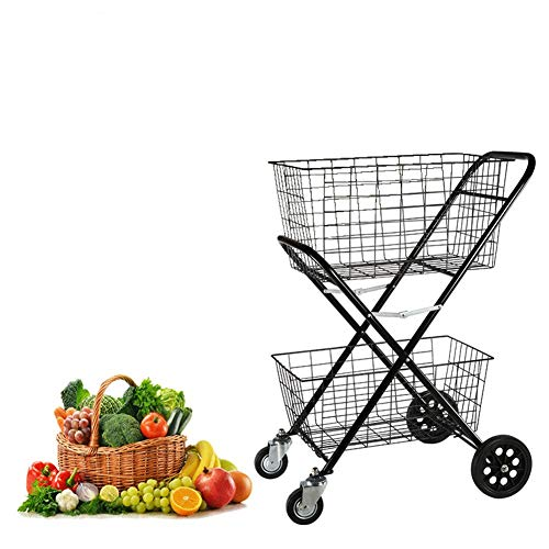 ZGQA-GQA Double Layer Shopping Cart Child Environmental Protection Antirust Wear-Resistant Rubber Wheel Trolley