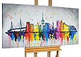 KunstLoft Acryl Gemälde 'Hamburg, Meine Perle' 140x70cm | original handgemalte Leinwand Bilder XXL | Hamburg Skyline Deutschland Bunt Grau | Wandbild Acrylbild Moderne Kunst einteilig mit Rahmen