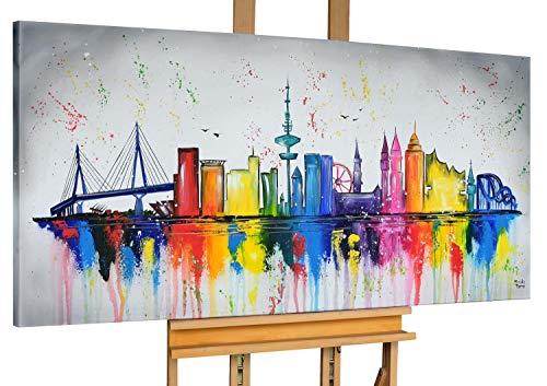 KunstLoft® Acryl Gemälde 'Hamburg, Meine Perle' 140x70cm handgemalt Leinwand Bild