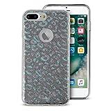 Puro IPC755CSHINELEOIRI Shine Leopard Schutzhülle für Apple iPhone 6 Plus/6S Plus/7 Plus Silber