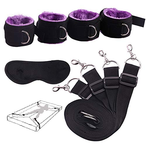 Luxurious Webbing Straps Kit for Bedroom Game, Wrist Straps with Comfortable Plush, Including 1 Eye Mask (Purple)