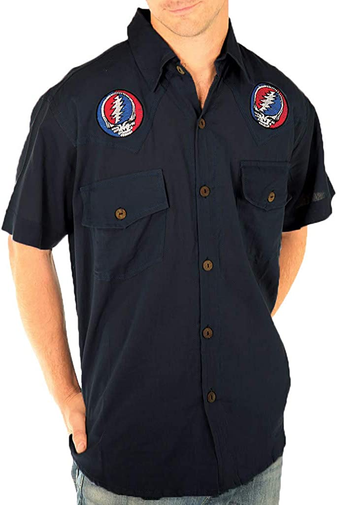 Baby Blue - Cotton Short Sleeve Button Down Shirt with Embroidered Steal Your Face and Bolt | Grateful Dead | GD-AJW32-SS