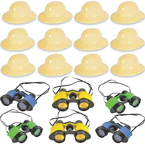 24 Piece Safari Favors & Prizes - 12 Plastic Safari Hats, 12 Toy Binoculars. Great for Animal Lovers, Scouts, Explorer, Camping, Hikes, Outdoor and Adventure Theme Parties