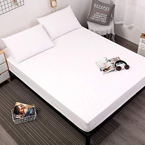 XGguo Care Hoeslakens, Poly Katoen Dubbele Vellen gemonteerd, Super Zacht Katoen Pure Kleur Geborsteld Bed Laken Volledige Cover-White_183X190X25cm