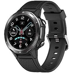 YAMAY Smartwatch Uomo Rotondo Orologio Fitness Uomo Cardiofrequenzimetro da Polso Contapassi Orologio Sportivo Android iOS Impermeabile IP68 Cronometro Notifiche Chiamate e Messaggi