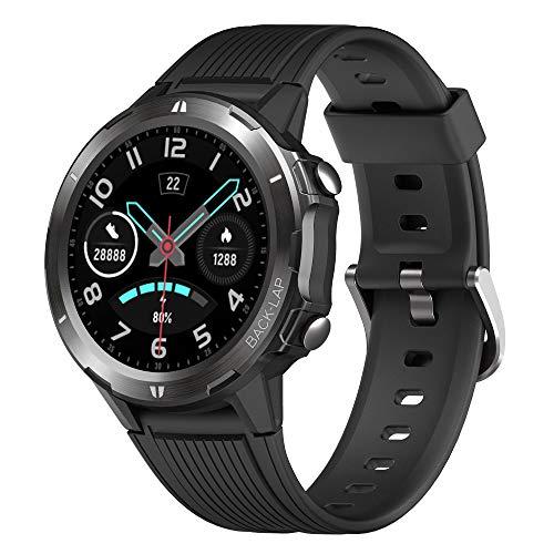 YAMAY Smartwatch Orologio Fitness Uomo Donna Impermeabile IP68 Smart Watch Touch Rotondo Cardiofrequenzimetro da polso Contapassi Fitness Tracker con Cronometro Notifiche Messaggi per Android iOS