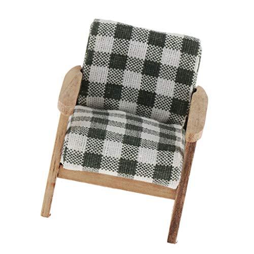 SM SunniMix 1/12 Puppenhausmöbel Miniatur Sofa Sessel Relaxsessel Ohrensessel Fernsehsessel mit Armlehne - C