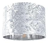 Pantalla de lámpara colgante/mesa de 12'de terciopelo triturado blanco moderno con interior plateado brillante por Happy Homewares