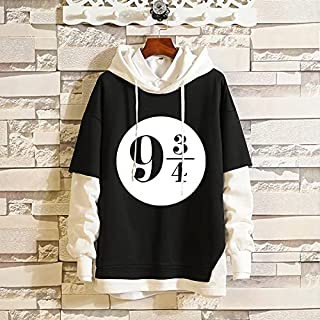 LHIU Couple's Color Contrast Stitched Hoodie Around Harry Potter Academy Of Witches And Wizardry Movies(Harry Potter B Fak...