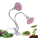 290ビーズダブルランプヘッドLEDグローライト、フルスペクトルE27フレキシブルメタルホース、水耕栽培の室内植栽、ガーデン温室用スプリングクランプ
