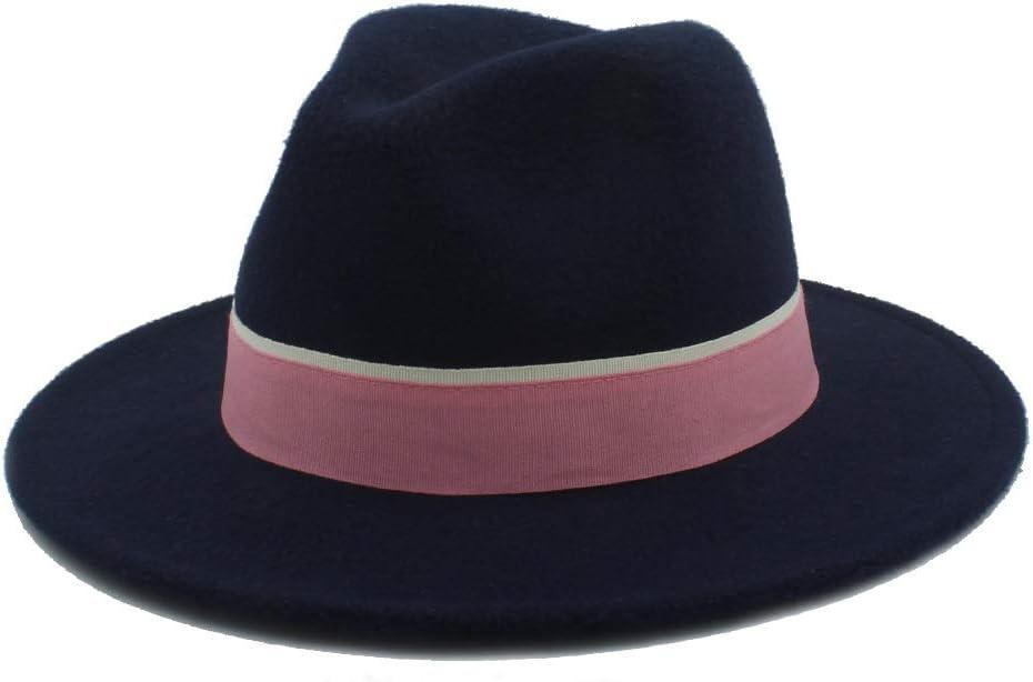 No-branded Men Women Fedora Hat with Pink Cloth Belt Pop Wide Brim Church Fascinator Hat Panama Jazz Hat Size 56-58CM ZRZZUS (Color : Dark Blue, Size : 56-58)