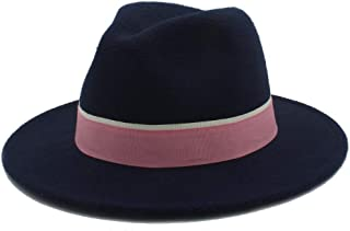SHENTIANWEI Men Women Winter Fedora Hat with Pink Cloth Belt Pop Wide Brim Church Fascinator Hat Panama Jazz Hat Size 56-58CM