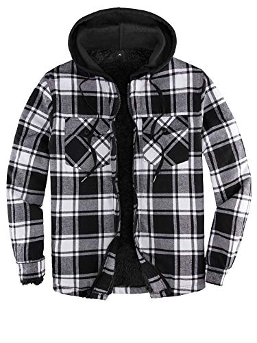Mens Sherpa Lined Flannel Shirt Jacket with Hood,Plaid Shirt-Jac,all Sherpa Lining Black/White L
