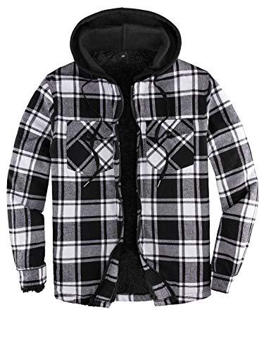 Hooded Flannel Jackets Men Sherpa Lined