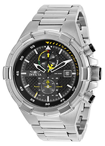 Invicta Men's Aviator Quartz Watch with Stainless Steel Strap, Silver, 26 (Model: 28108)