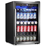Antarctic Star Beverage Refrigerator Cooler - 145 Can Mini Fridge Glass Door for Soda Beer or Wine Small Drink Dispenser Clear Front for Home, Office or Bar, black,4.5cu.ft.