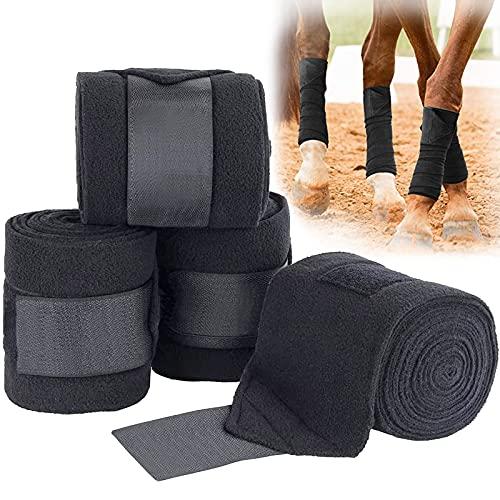 Murlancra Pferdebeinbandagen, rutschfeste Pferdebandagen, elastische Fleece-Polobandagen für Pferde Bandagen