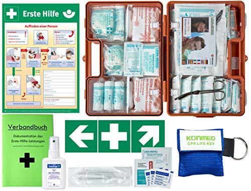 Erste-Hilfe-Koffer M2 PLUS für Betriebe ab 50 Mitarbeiter DIN/EN 13169 -Komplettpaket- incl. 3 AUFKLEBER & AUSHANG & Hygiene-Ausstattung & Verbandbuch