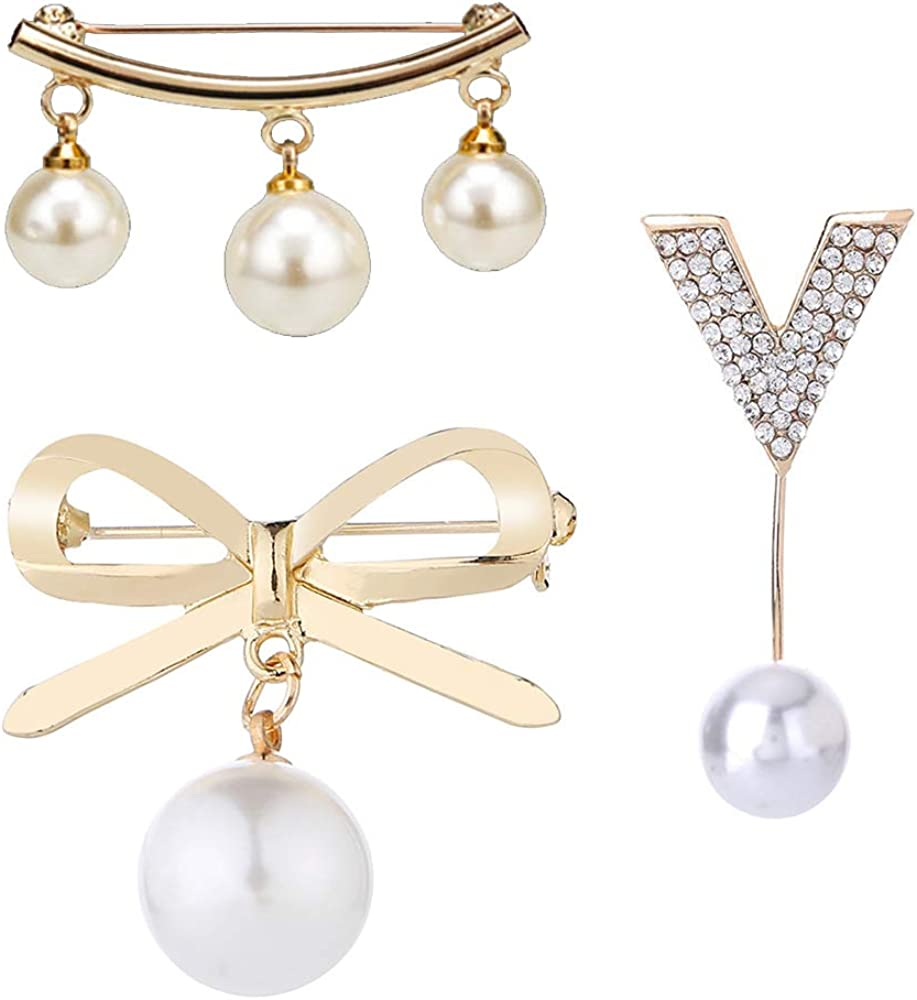 Huture 3 Packs Faux Pearl Dangle Beads Collar Lapel Brooch Pin Dress Rhinestone Decoration Buckle Pin Jewelry Brooches for Sweaters Shawls Collars Dresses and Most Clothes for Ladies Women Girls Gold