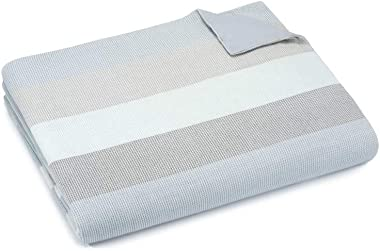 UGG Arcata 100% Cotton Waffle Weave Striped Duvet Cover (Slate, Queen)