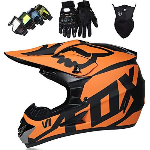OTBKNB Casco Motocross, Casco Moto Todoterreno para Niños, Aprobado por Dot Casco Rally para Hombres Mujeres con Gafas Máscara Guantes, Casco Protección Junior con diseño Fox, Negro Mate Naranja