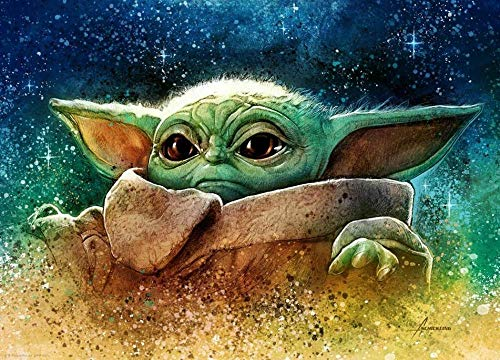 Puzzle 1000 Piezas Adultos Rompecabezas,Póster Star Wars The Mandalorian: Yoda,Infantiles Adolescentes Juegos Puzzle 75x50cm