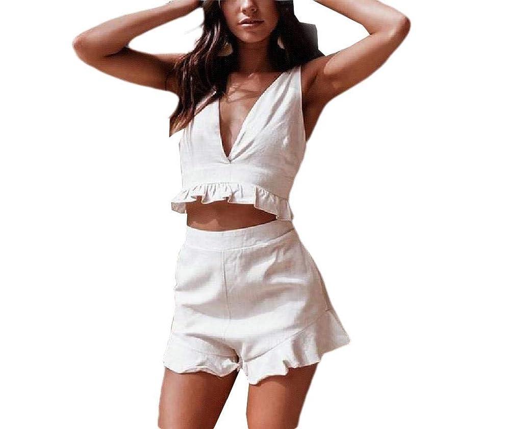 ネット保守可能木女性の固体色の深いVネックステッチトップとパンツの服