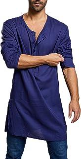 FUERI Mens Henley T Shirt Cotton Linen Nightshirt Long Sleeve Gown Islamic Muslim Robe Thobe Ethic Kaftan Summer Casual Sh...