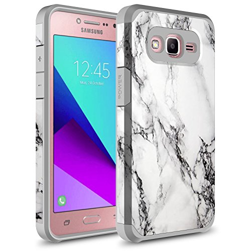 Galaxy On5 Case, Rosebono Hybrid Dual Layer Shockproof Hard Cover Graphic Fashion Cute Colorful Silicone Skin Case for Samsung Galaxy On5 / SM-G550 - White Marble