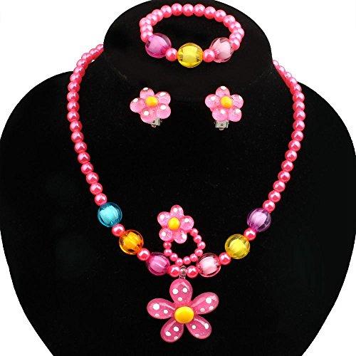 SODIAL 4pcs LovelyGirls Kids Beaded Sun Flower Necklace Bracelet Rings Earrings Jewelry Set Children Party Gift