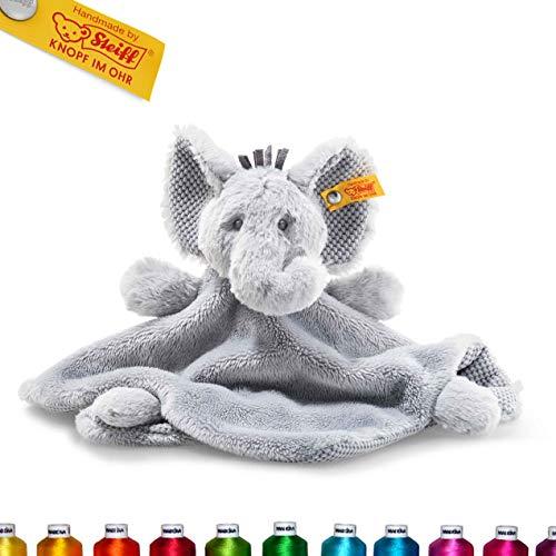 Steiff Ellie Elefant Schmusetuch Bestickt mit Namen für Baby & Kinder personalisiert, Plüsch & Kuscheltuch, 26 cm, Grau