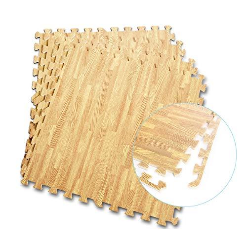COSTWAY Schutzmatte 12 Stück, Bodenschutzmatte je 60x60x1cm, Puzzlematte aus Eva, Matte für Bodenschutz, Unterlegmatte Fitnessmatte Gymnastikmatte inkl. Randstück (Holzoptik)